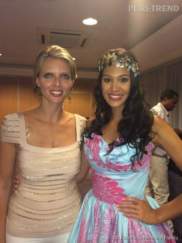 La jolie Hinarere Taputu lors de son élection à Miss Tahiti 2014, avec Sylvie Tellier. La jeune femme s'est exprimée sur sa défaite, refusant de polémiquer.