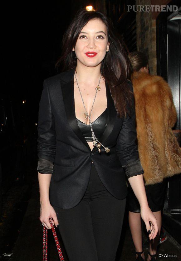 Daisy Lowe à la sortie du Chiltern Firehouse à Londres le 9 décembre 2014.