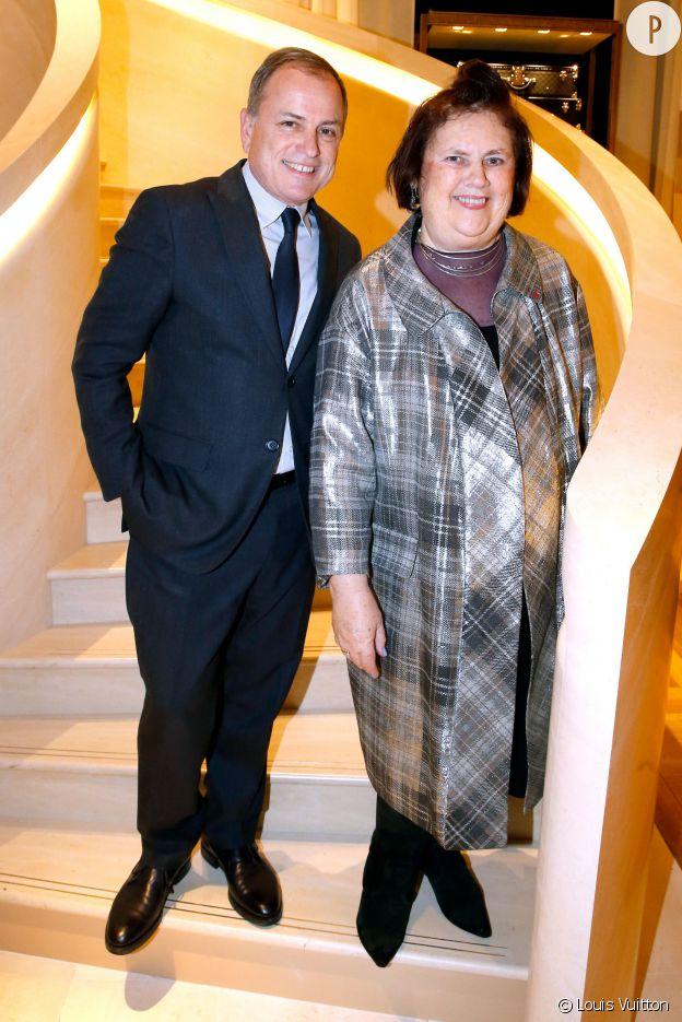 Suzy Menkes et Michael Burke à l'inauguration de la nouvelle boutique Louis Vuitton, ce lundi 15 décembre 2014.