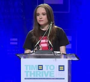 """Ellen Page et son émouvant discours à la conférence """"Time to Thrive"""", organisée par le mouvement LGBT, le 14 février 2014."""