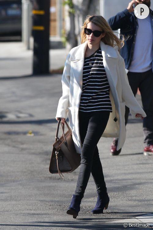 Emma Roberts, le manteau blanc oversize dont on rêve pour l'hiver !