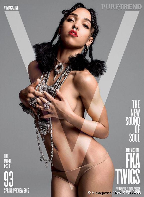 """FKA twigs en couverture du numéro """"Spring 2015"""" """"The New Sounds of Soul"""" du magazine V."""