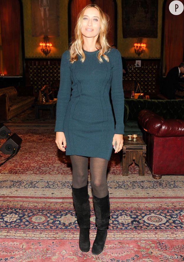 Alexandra Golovanoff, sexy en petite robe vert canard au défilé de la collection pre-fall 2015 de Sonia Rykiel, ce mardi 6 janvier 2015 à New York.