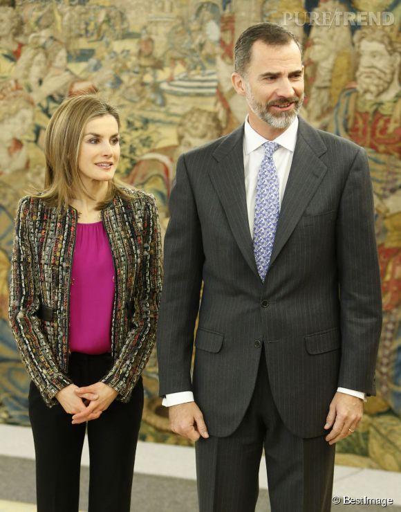 Letizia d'Espagne et le roi Felipe lors d'une audience au palais de la Zarzuela, ce vendredi 9 janver 2015.