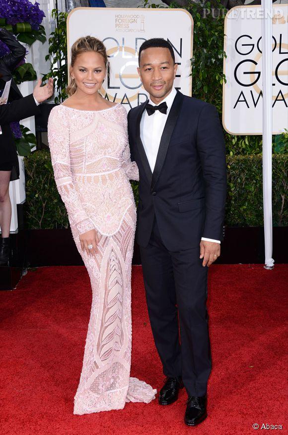 Chrissy Teigen et John Legend aux Golden Globes 2015 le 11 janvier.