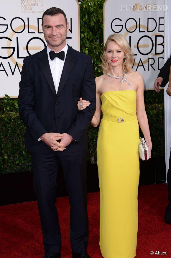 Naomi Watts et Liev Schreiber aux Golden Globes 2015 le 11 janvier.
