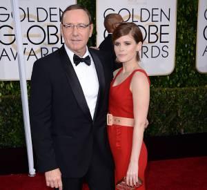 """Kevin Spacey et sa partenaire de la série """"House of Cards"""", Kate Mara aux Golden Globes 2015 le 11 janvier."""