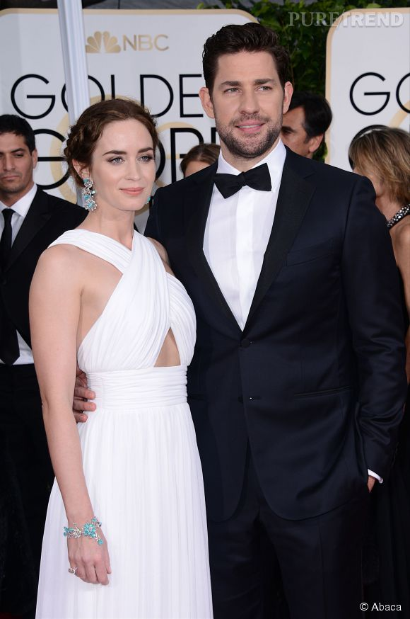 Emily Blunt et John Krasinski aux Golden Globes 2015 le 11 janvier.