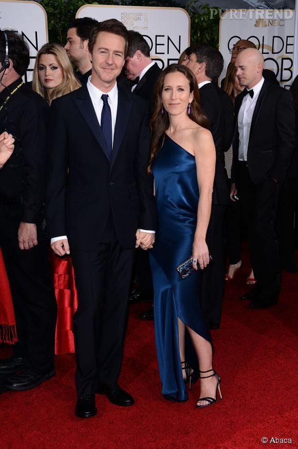 Edward Norton et Madame aux Golden Globes 2015 le 11 janvier.