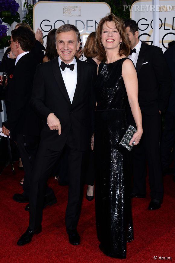 Christoph Waltz et son épouse foulent le tapis rouge des Golden Globes 2015.