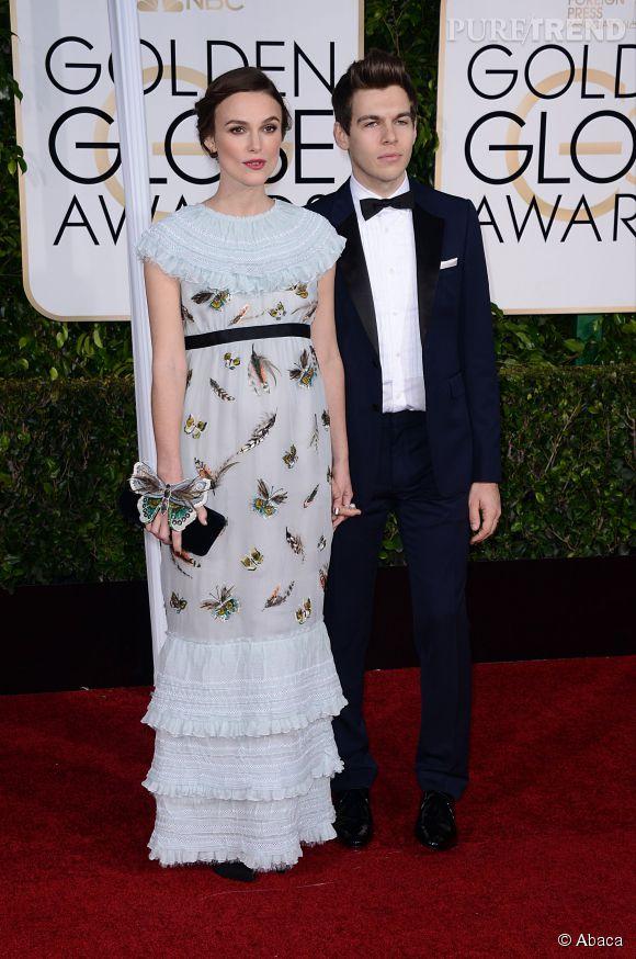 Keira Knightley et son mari, le chanteur James Righton aux Golden Globes 2015 le 11 janvier.