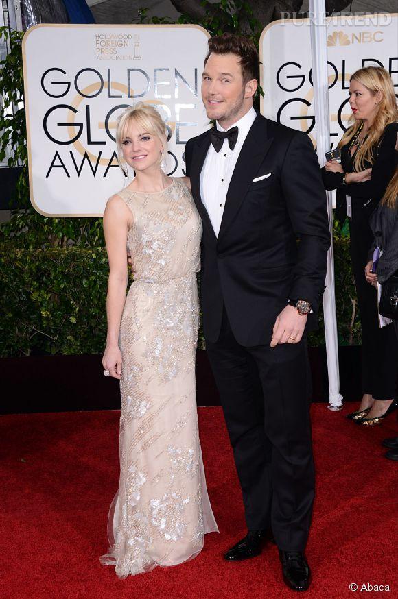 Anna Faris et son beau gosse de mari Chris Pratt aux Golden Globes 2015 le 11 janvier.