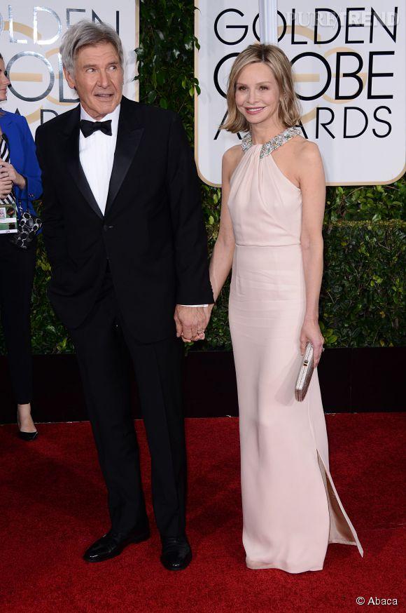Harrison Ford avec l'inoubliable Ally McBeal Calista Flockhart aux Golden Globes 2015 le 11 janvier.