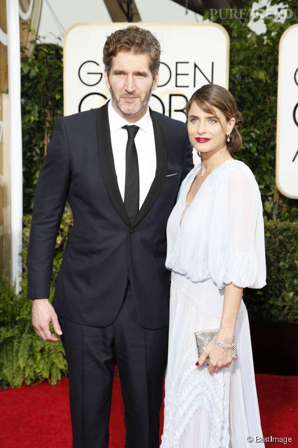 Amanda Peet et son mari aux Golden Globes 2015.