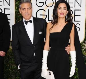 George et Amal Clooney à la cérémonie des Golden Globes le 11 janvier 2015.