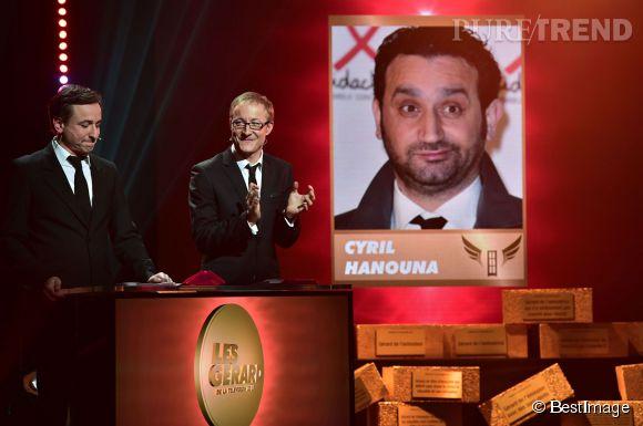"""Cyril Hanouna a eu l'honneur de recevoir trois récompenses aux Gérards de la télévision 2015 dont celui du """"pire animateur télé"""".."""