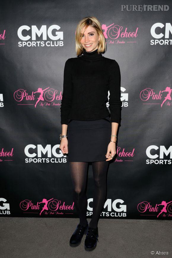 Alexandra Rosenfeld étrenne sa nouvelle coupe de cheveux lors de la soirée de lancement de la collaboration entre Pink School et CMG à Paris le 22 janvier 2015.