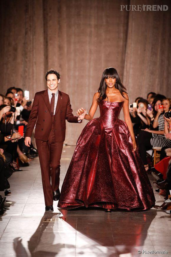 Zac Posen et Naomi Campbell à New York le 16 février 2015.