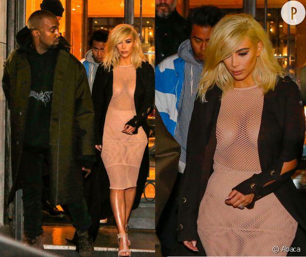 Kim Kardashian n'est franchement pas mise en valeur dans cette robe en résille transparente...
