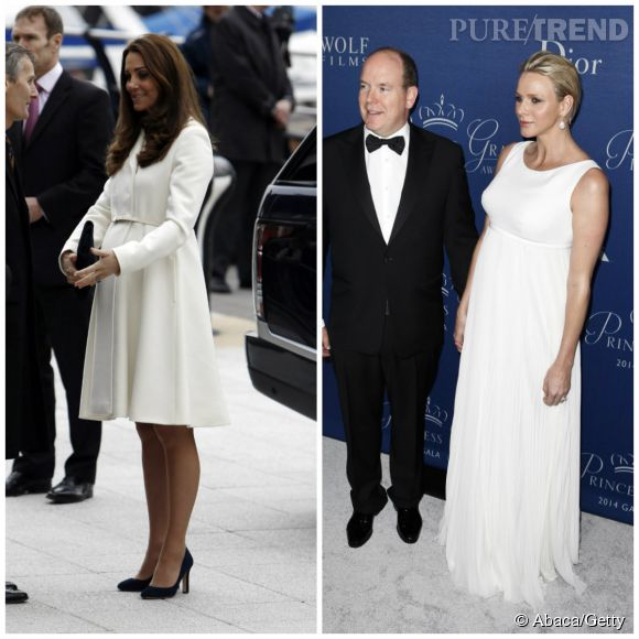 Le blanc pur, Kate Middleton le porte en manteau, Charlène en longue robe de soirée.