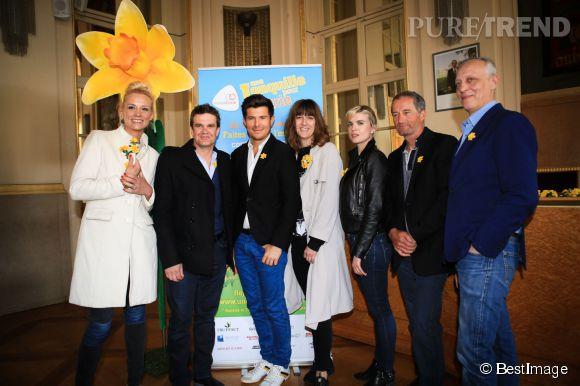 """Élodie Gossuin, Daphné Bürki et Cécile Cassel au lancement de la 11ème édition de l'opération """"Une Jonquille pour Curie"""", ce mercredi 18 mars 2015."""
