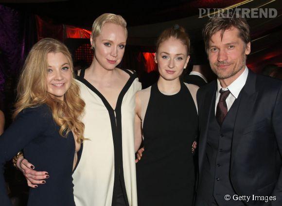 """Natalie Dormer, Gwendoline Christie, Sophie Turner et Nikolaj Coster-Waldau lors de la première de la saison 5 de """"Game of Thrones"""" à la Tour de Londres le 18 mars 2015."""
