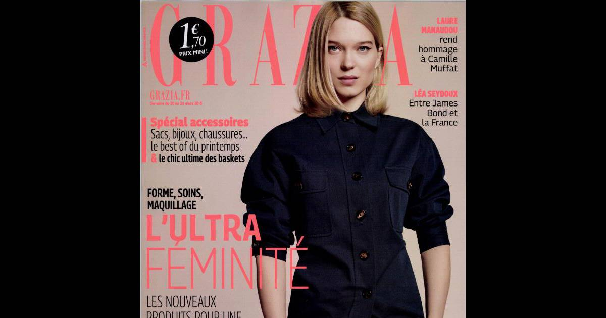 en couverture du magazine grazia de cette semaine l a seydoux revient sur le traumatisme de l. Black Bedroom Furniture Sets. Home Design Ideas