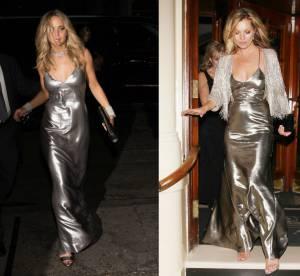 Jennifer Lawrence vs Kate Moss : la robe nuisette métallisée