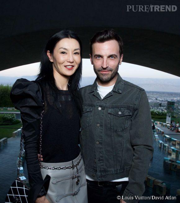 Maggie Cheung et Nicolas Ghesquière au défilé Louis Vuitton Croisière2016à Palm Springs le6 mai 2015.