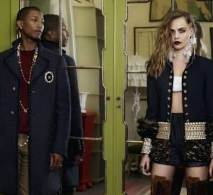 Cara Delevingne, Pharrell Williams posent dans la campagne Chanel Métiers d'Art Paris-Salzburg.