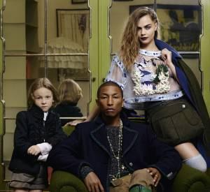 Cara Delevingne, Pharrell Williams et Hudson Kroenig devant l'bjectif de Karl Lagerfeld pour la campagne Chanel Métiers d'Art Paris-Salzburg.