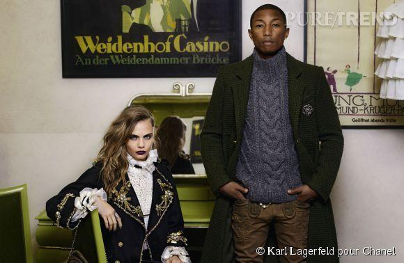 Cara Delevingne et Pharrell Williams posent dans la campagne Chanel Métiers d'Art Paris-Salzburg.