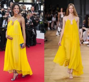 Noémie Lenoir enceinte vs Podium : la robe bohème Chloé