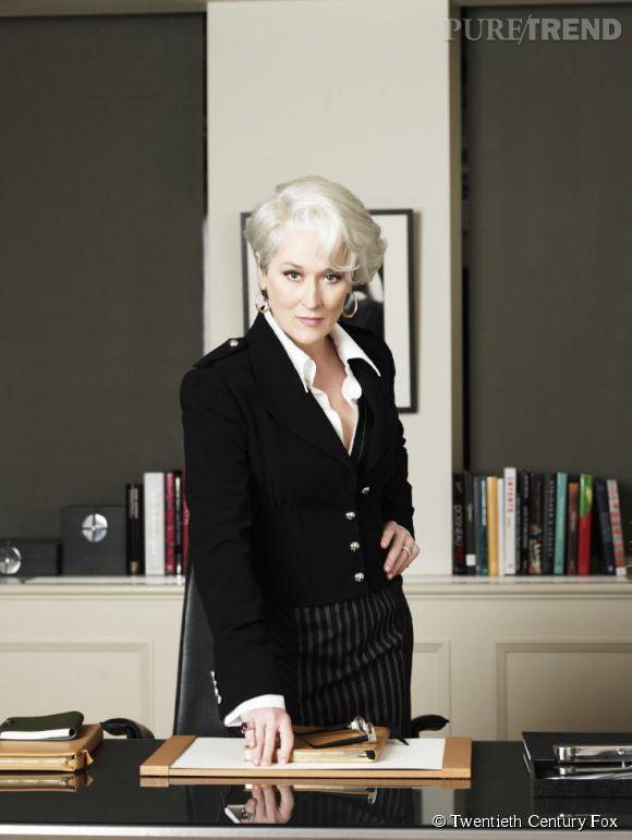 """Meryl Streep s'illustre aussi dans de grosses productions, comme """"Le Diable s'habille en Prada"""", dans lequel elle joue une rédactrice en chef glaciale d'un grand magazine de mode."""