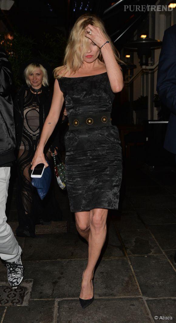 Kate Moss lors d'une des soirées organisées pour l'anniversaire de Sadie Frost à Londres le 21 juin 2015.