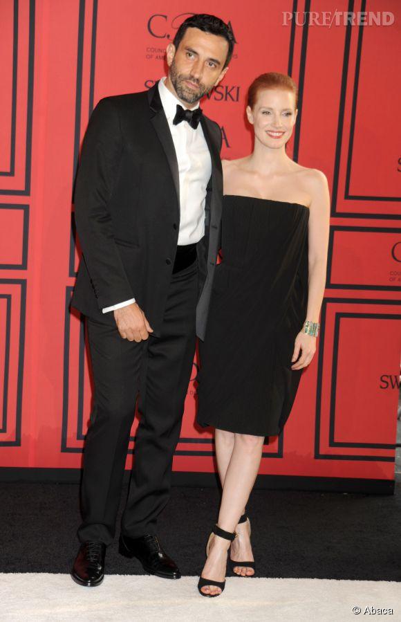 Riccardo Tisci et l'actrice Jessica Chastain posent ensemble en une du  Vogue  Japon.
