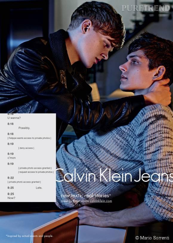 Reid Rohling et Ethan James Green, premier couple homosexuel de la campagne Calvin Klein Jeans Automne-Hiver 2015/2016.