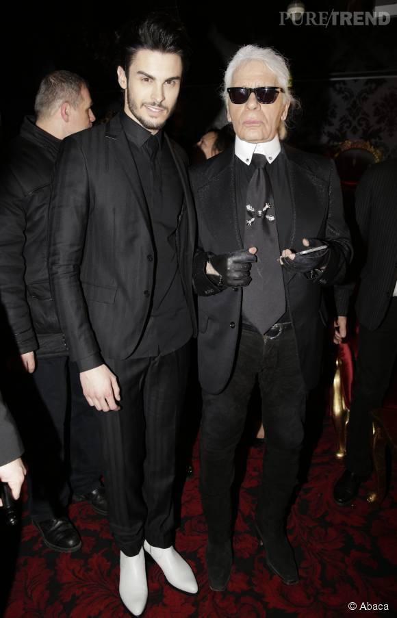 Baptiste Giabiconi et Karl Lagerfeld, celui grâce à qui il s'est fait connaître.