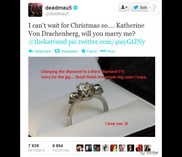 Kat von D a été demandée en mariage... sur Twitter, par son fiancé DJ Deadmau5 avec qui elle sort depuis septembre et de qui elle s'était séparé il y a quelques semaines.