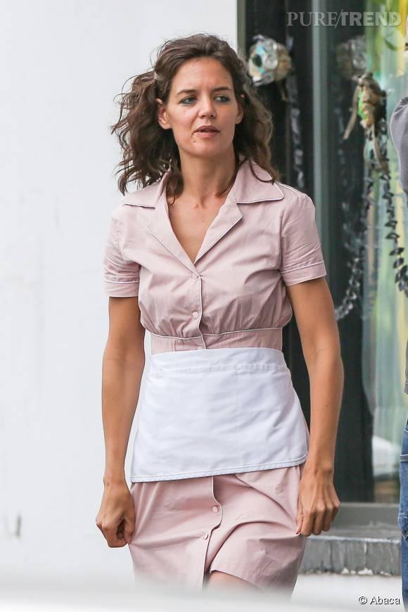 Look négligé pour Katie Holmes.
