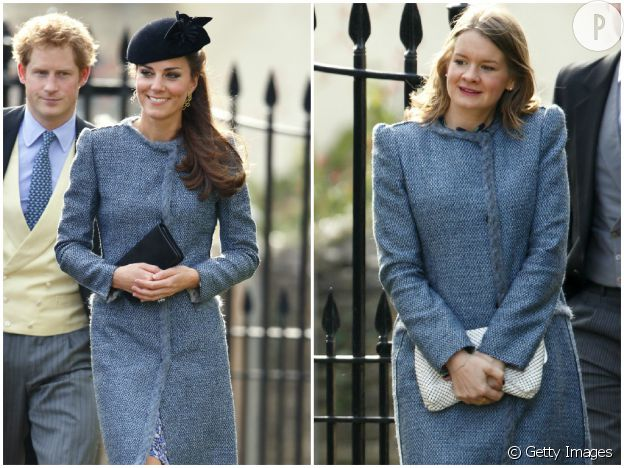 Kate Middleton au mariage de ses amis Lucy Meade et Charlie Budgett à Marshfield en Grande-Bretagne.