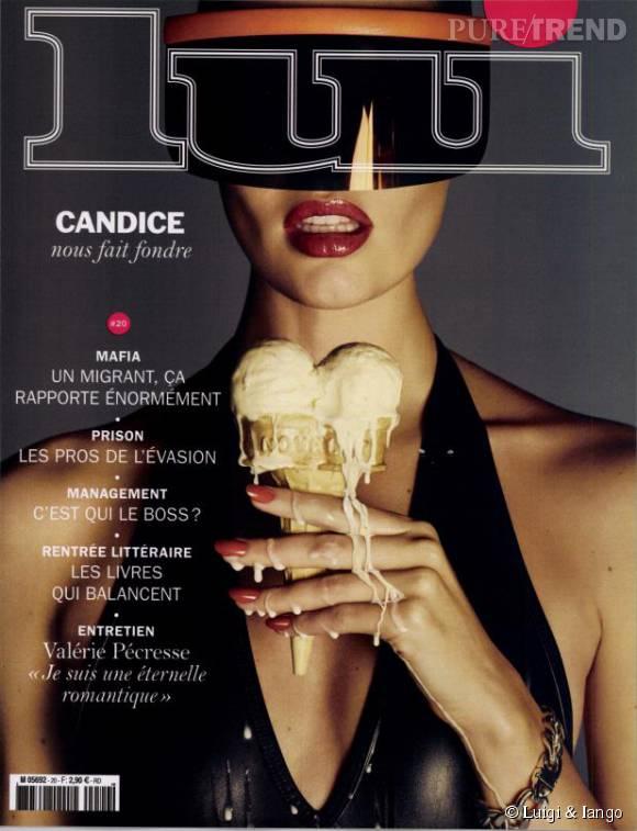 Candice Swanepoel en couverture du magazine Lui du mois de septembre.