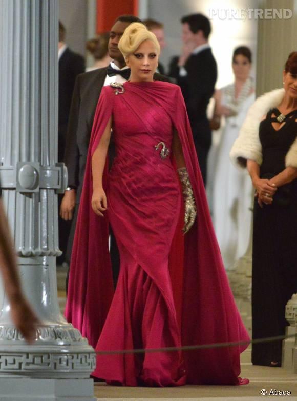 """Lady Gaga, sur le tournage de la cinquième saison de la série """"American Horror Story""""."""