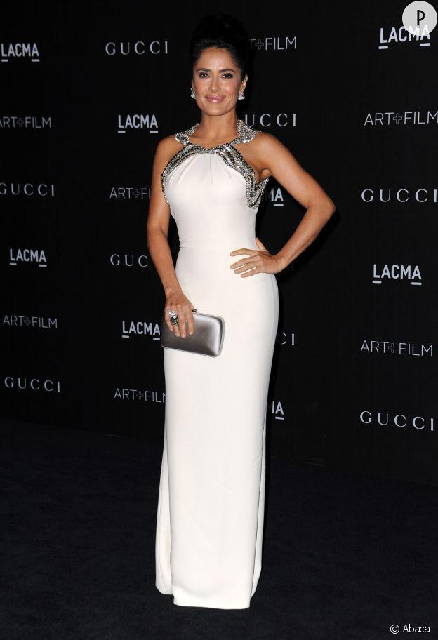 Salma Hayek en robe Gucci.