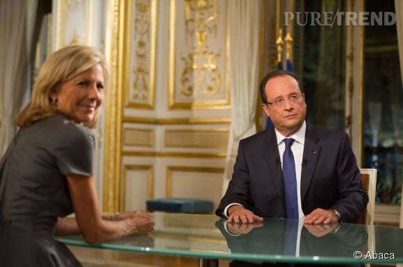 Claire Chazal interviewe le président de la République, François Hollande, en septembre 2013.