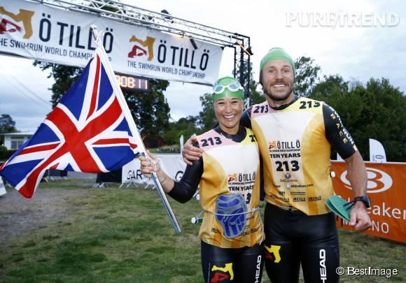 Pippa Middleton, souriante après avoir franchi la ligne d'arrivée de l'Otillo Swim-Run World Championship, hier en Suède.