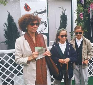 Eva Green et ses deux filles, les fausses jumelles Joy et Eva Green, en 1992.
