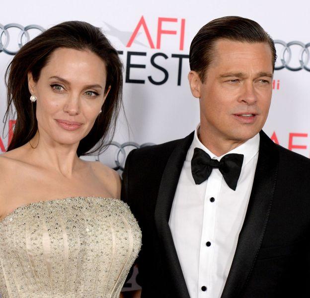 """Brad Pitt et Angelina Jolie, lors de la première de """"Vue sur mer"""", ce jeudi 5 novembre 2015."""