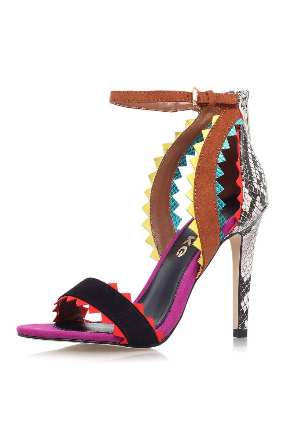 Sandales multicolores Miss Kurt Geiger, 98€ au lieu de 125€, sur le site de Topshop.