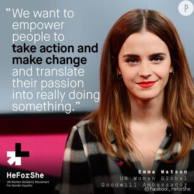 """Emma Watson, un nouveau discours brillant pour la cause """"HeforShe"""", le jour de la Journée internationale des femmes."""